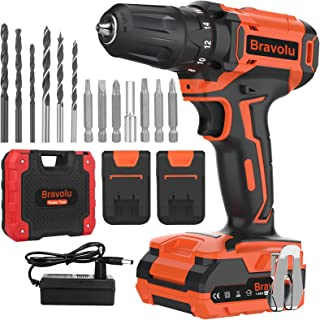 Cordless Drill Driver, Bravolu 21V MAX Lithium Lon Electric Combi Drill with 2 Battery, Power Drill Torque 18+3 Clutch 3/...