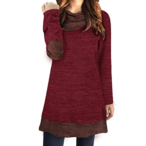 6d20978f11 STYLEWORD Women s Long Sleeve Drape Scarf Neck Patchwork Casual Tunic Top