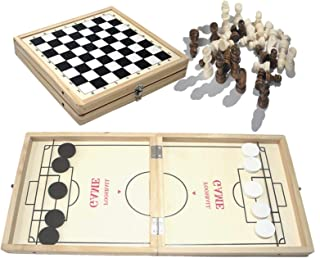 A/B Fast Sling Puck Game, Foldable Hockey Curling Game 2 in 1 Wooden Desktop Ice Hockey Table Game Wooden Chess Set Travel...