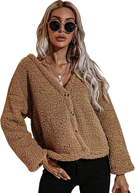 Women's Fleece Pullover Fuzzy Long Sleeve Oversized Sweatshirt Coat Winter Warm Coat Outwear Stand Collar Loose Sweater