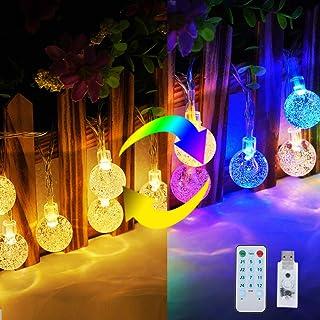 Omika Globe String Lights with Music Sync, 16.4ft 50 LED Ball Fairy Lights USB Powered, Decorative Lights for Bedroom Party Wedding Bar Club Patio Yard Xmas Halloween