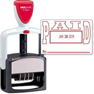 MaxMark Heavy Duty Style Date Stamp with Paid self Inking Stamp - Red Ink