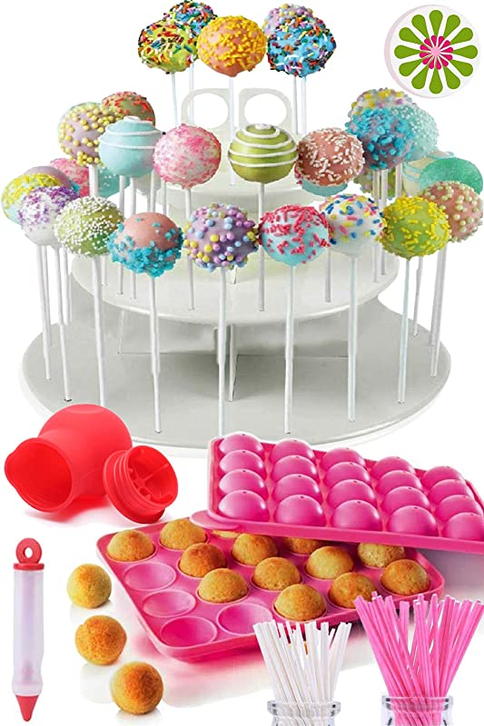 COMPLETE CAKE POP MAKER KIT Jam Packed With Silicone Cakepop Baking Mold 120 Lollipop Sticks Candy And Chocolate Melting Pot Decorating Pen Bags Twist Ties 3 Tier Display Stand Holder