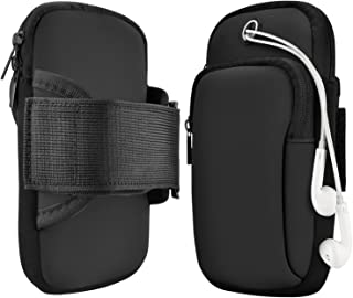 LEAPTECH 4344269970 Sports Armband, Multifunctional Pockets Exercise Workout Running Waterproof Arm Bag with Earphone Hole for iPhone Xs Max/XR/XS/8/Plus/7 6S/Samsung Galaxy Note 9/S9/Plus (Black)
