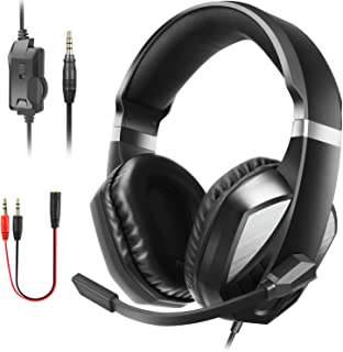 JAMSWALL PS4 Gaming Headset, 3.5mm Over Ear Stereo Gaming Headset for Xbox one, Play station4, Nintendo Switch Games, PC, Noise Cancelling Headphone with mic and Volume Control,Bass Surround(red)