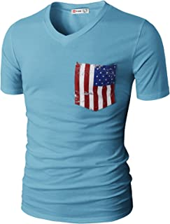 Mens Casual Slim Fit Short Sleeve T-Shirts Cotton Blended Soft Lightweight V-Neck/Crew-Neck