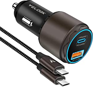 VELOGK Super Fast Type C Car Charger [73W Turbo], Metal Adaptive 55W 45W PPS/PD&QC3.0 USB C Car Adapter[Super Fast Charging 2.0]for Samsung S21/S20 Ultra/Note 20/10 Plus, iPad Pro/Air, Macbook Laptops