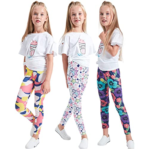 ea7d1e11b0f2a LUOUSE Kids Stretch Leggings Tights Girls Pants Plain Full Length Childrens  Trousers, Age 4-