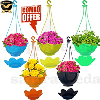 SAI PRASEEDA Hanging pots for Plants Balcony (Pack of 5`s) Multi Colour with Water Tray