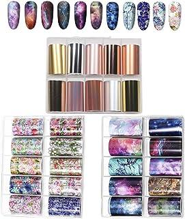 Kalolary 30 kleuren Nagelfolie Transfer Sticker Holografische Nagel Art Stickers Nagel Art Folie(3 dozen/Grote maat)