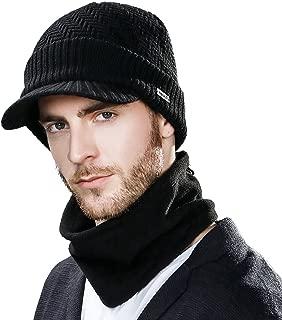 SIGGI unisex warme Wolle gestrickte Beanie Mütze mit Schirm Strickmütze Schal Herren