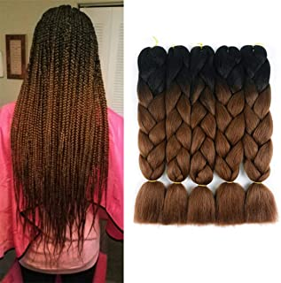 AllBeauty Hair Synthetic Braiding Hair Kanekalon 2 Tone Color Ombre Braiding Hair Extensions Black-Dark Brown Jumbo Braids 24inch 5pcs/Lot (2 Tone (Black-Dark Brown))