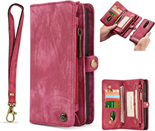 Simicoo LG Stylo 4 Leather Wallet Zipper Purse Detachable Card Slots Holder Flip Case Magnetic Handle Wrist Strap Shockproof Cover Pocket Wallet Handbag for LG Stylo 4 (Red, LG Stylo 4)