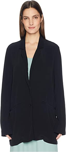 Tencel Viscose Crepe Notch Collar Long Jacket