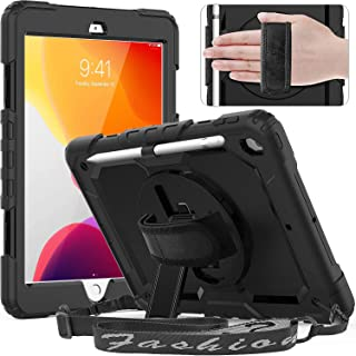 Ntech iPad 10.2 Case 2020/2019 (iPad 8th/ 7th Generation Case) with Screen Protector Pencil Holder Rotating Kickstand Han...