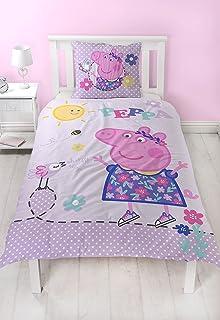 Peppa Pig Peppa Pig franela niña cama reversible Diseño cálido y cómodo–2piezas almohada 80x 80+ Funda Nórdica 135x 200cm 100% algodón de