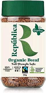 Repubilca Organic Decaffeinated Arabica Instant Coffee | Certified Organic | Fair Trade | 100g/3.53oz jar