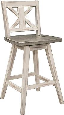 Lexicon Havre Swivel Counter Height Barstool (Set of 2), Cross-24Inch, Gray/White