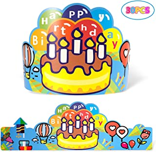 Birthday Crowns for Kids Classroom, Elastic Happy Birthday Cardstock Hats for Students Class School Kindergarten VBS Party Supplies, Pack of 30