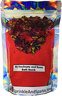 Sprinkle and Sparkle My Soulmate and Roses bath bomb - with Rose essential oil and Roses 200g