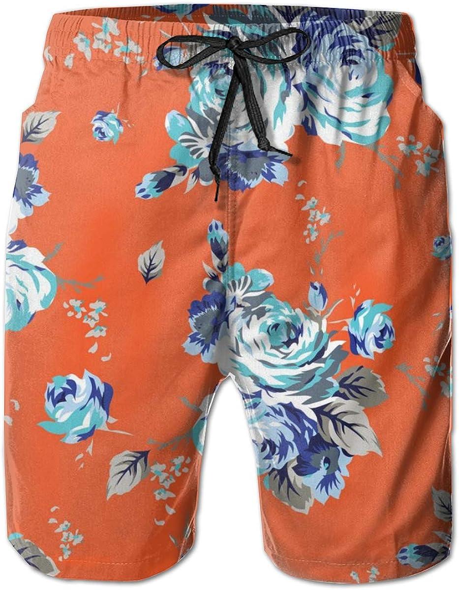 YongColer Men Cool Surfing Beach Board Shorts Swim Trunks - Shabby Rose Flowers