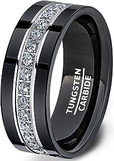مجموعة دوك للرجال خاتم زفاف أسود خواتم التنجستن مكدسة بالكامل حول الخاتم مع زركون مكعب مريح