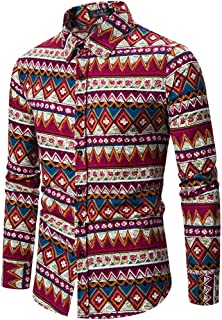 SPE969 Men's Dashiki Casaul Shirts,Button Down Ethnic Style Vintage Floral Printing Long Sleeve Loose Designer Shirts