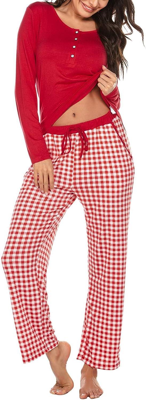 Ekouaer Womens Pajama Set Long Sleeve Soft Sleepwear Two Piece Pajamas Tops with Long Sleep Pants Loungewear Pjs