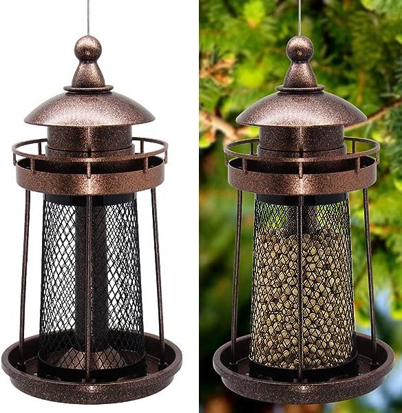 一闪一闪的星星野鸟喂食器花园庭院外挂装饰灯塔造型