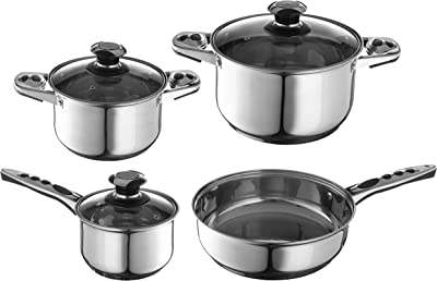 7 Pc Stainless Steel Cookware with Tri-Ply Clad Construction for Home Kitchen Use - Non-Slip Cool Handles - Induction Compatible - Dishwasher Safe