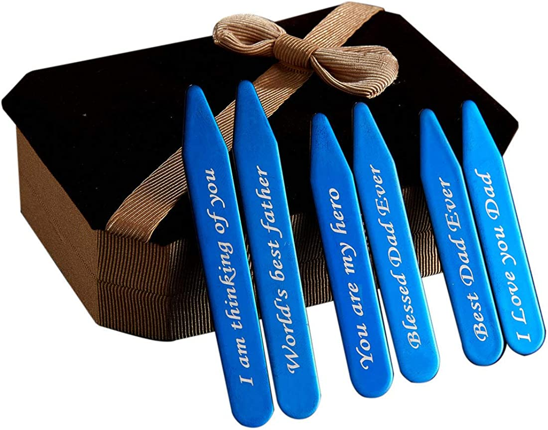 6Pcs Love Note Blue Stainless steel Collar Stays in a Nice Gift Box Size 2.2