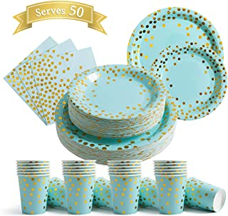200Pcs Blue Disposable Paper Plates Cups Napkins Set - Blue and Gold Party Supplies, Gold Dots on Blue 50 Dinner Plates 50 Dessert Plates, 50 Napkins and 50 9 oz Cups for Baby Shower Birthday Parties