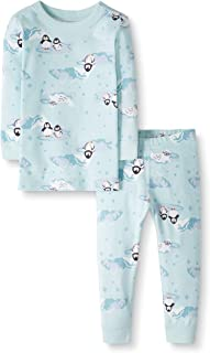 Moon and Back by Hanna Andersson Little Kids 2 Piece Long Sleeve Pajama Set, Penguin Print, 8