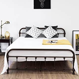 Giantex Queen Size Platform Bed Frame, Metal Bed Frame with Headboard & Footboard, Steel Slat and 9-Leg Support for Mattress Foundation, Box Spring Replacement Home Bedroom Furniture (Chocolate)