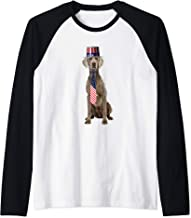 Weimaraner 4th Of July Dog In Top Hat and Tie Raglan Baseball Tee