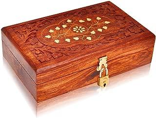 Great Birthday Gift Ideas Handmade Decorative Wooden Jewelry Box with Free Lock & Key Jewelry Organizer Keepsake Box Treasure Chest Trinket Holder Lock Box Watch Box 8 x 5 Inches