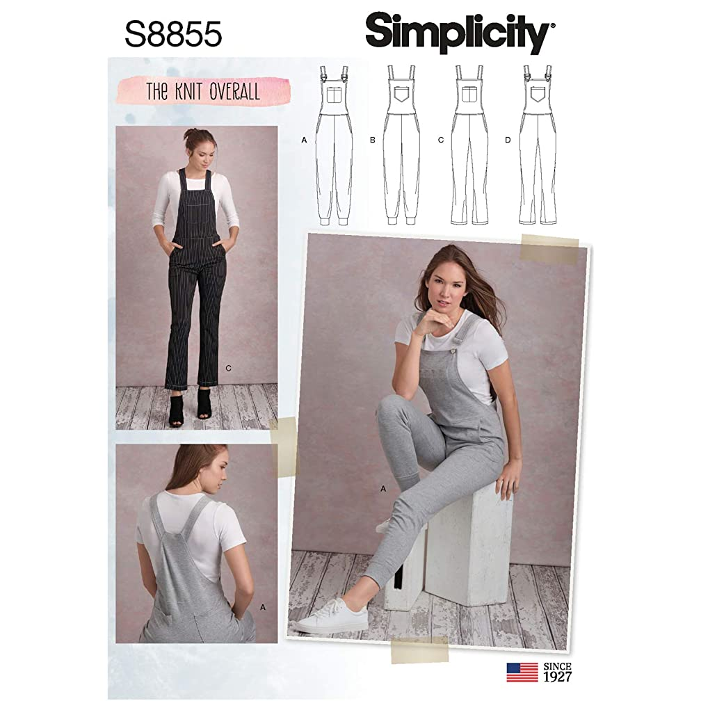 Simplicity US8855R5 Pattern S8855 Misses' Knit Overalls