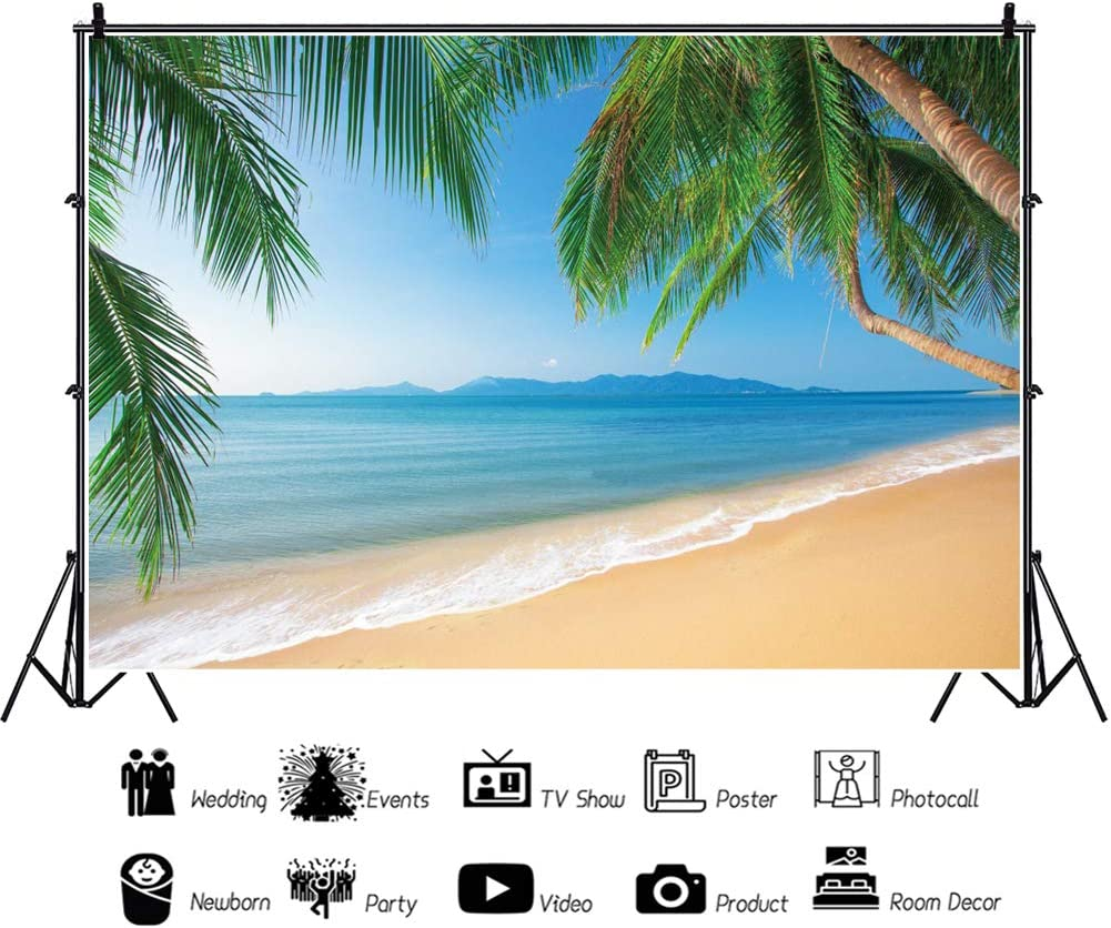 OERJU 8x6ft Tropical Backdrop Green Palm Trees Blue Sea and Skies Rolling Mountains Photography Background Personal Online Show Decor Girls Birthday Party Wallpaper Wedding Photo Studio Props