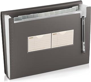 con 2 tasche a soffietto AhfuLife/® casa per ufficio Cartella portadocumenti con 13 scomparti per documenti A4 e formato lettera scuola e viaggi Nero