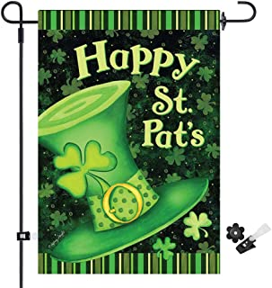 Uddiee Happy St. Patrick's Day Garden Flag Decorative Shamrock Irish Garden Flag Green for Celebration (12 x 18 Inch)
