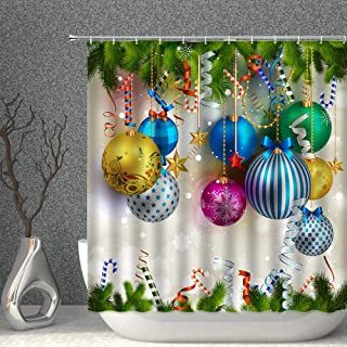 AMNYSF Merry Christmas Shower Curtain Colorful Xmas Balls Green Pine Branches Happy New Year Decor Fabric Bathroom Curtains,Waterproof Polyester with Hooks 70x70 Inches