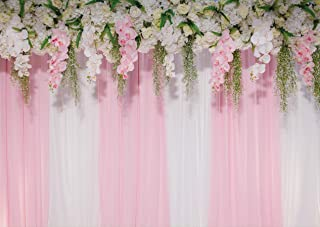 LTLYH 7X5 FT Wedding Photo backdrops Pink Curtains Backdrop Wedding Party Backgrounds for Photography Studio Flower Backdrop A-011