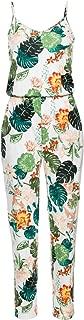Women's Spaghetti Strap Floral Print Sleeveless Summer Beach Jumpsuits Rompers