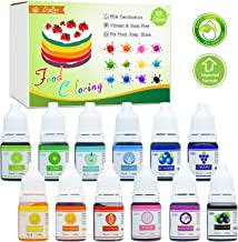 Food Coloring - 12 Color Vibrant Cake Food Coloring Set for Baking, Decorating, Fondant and Cooking - Upgraded Liquid Concentrated Icing Food Color Dye for Slime Making, DIY Crafts - .25 fl. oz. Each