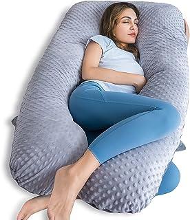 بالش بارداری QUEEN ROSE ، بالش حاملگی U شکل برای خواب ، بالش بدن بارداری برای بارداری ، پشتیبانی بالش بدن بارداری با مخمل متحرک و روکش نقطه مینکی ، خاکستری