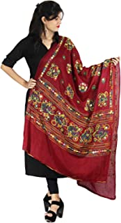 Kutch Print Scarf Stole Cotton Dupatta Aari Embroidery & Mirror Stickers Wrap For Women