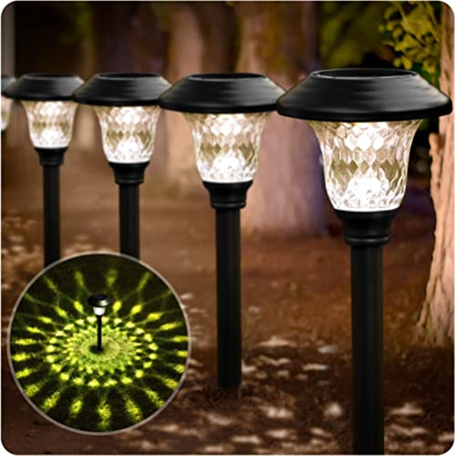 BEAU JARDIN 8 Pack Solar Lights Bright Pathway Outdoor Garden Stake Glass Stainless Steel Waterproof Auto On/Off Whit...