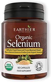 Organic Selenium 200 mcg with Iodine and Silica All from Certified Organic Whole Foods - Two Month Supply