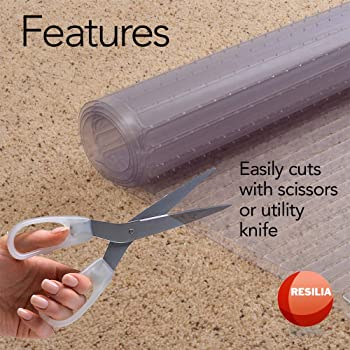 Resilia - Clear Vinyl Plastic Floor Runner/Protector for Deep Pile Carpet - Non-Skid Decorative Pattern, (27 Inches W...