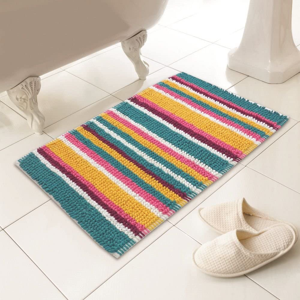 Tony S Textiles Luxury Heavy Weight Chenille Soft Microstripe Multi Colour Bath Mat Rug Standard Amazon Co Uk Kitchen Home